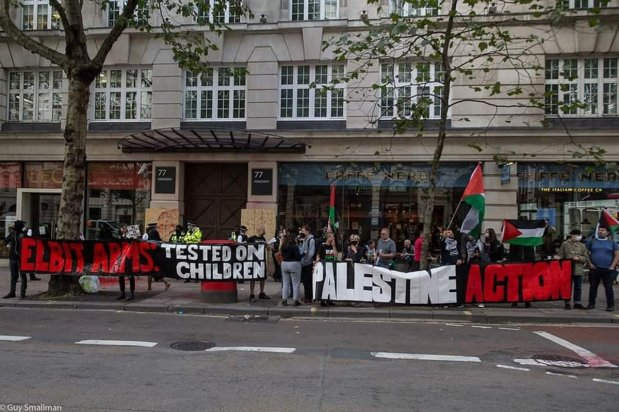 Palestine Action activists stage a protest against Israeli defence company 'Elbit System' in London, UK on 5 September 2020 [Palestine Action]