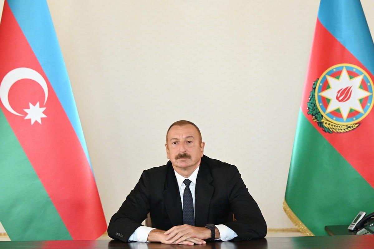 President of Azerbaijan Ilham Aliyev , in Baku, Azerbaijan on 27 September 2020 [Azerbaijani Presidency/Anadolu Agency]