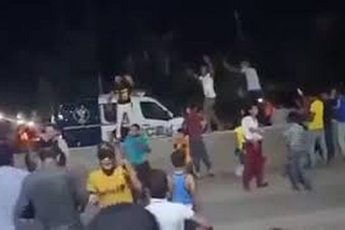 Protesters seize an armoured police vehicle in Giza, Egypt, 21 September 2020 [_ TREND/YouTube]