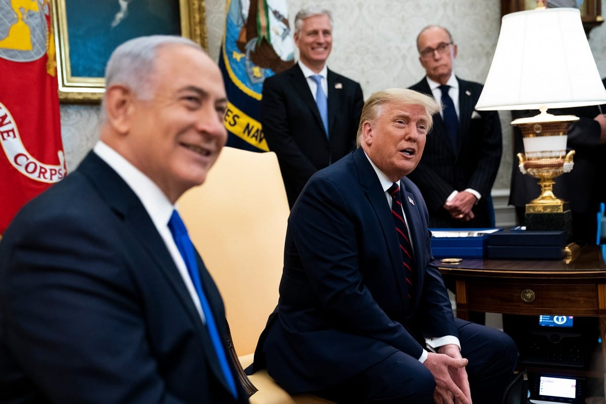 US President Donald Trump and Prime Minister of Israel Benjamin Netanyahu (L) at the White House in Washington on 15 September 2020 [Doug Mills/Pool/Getty Images]