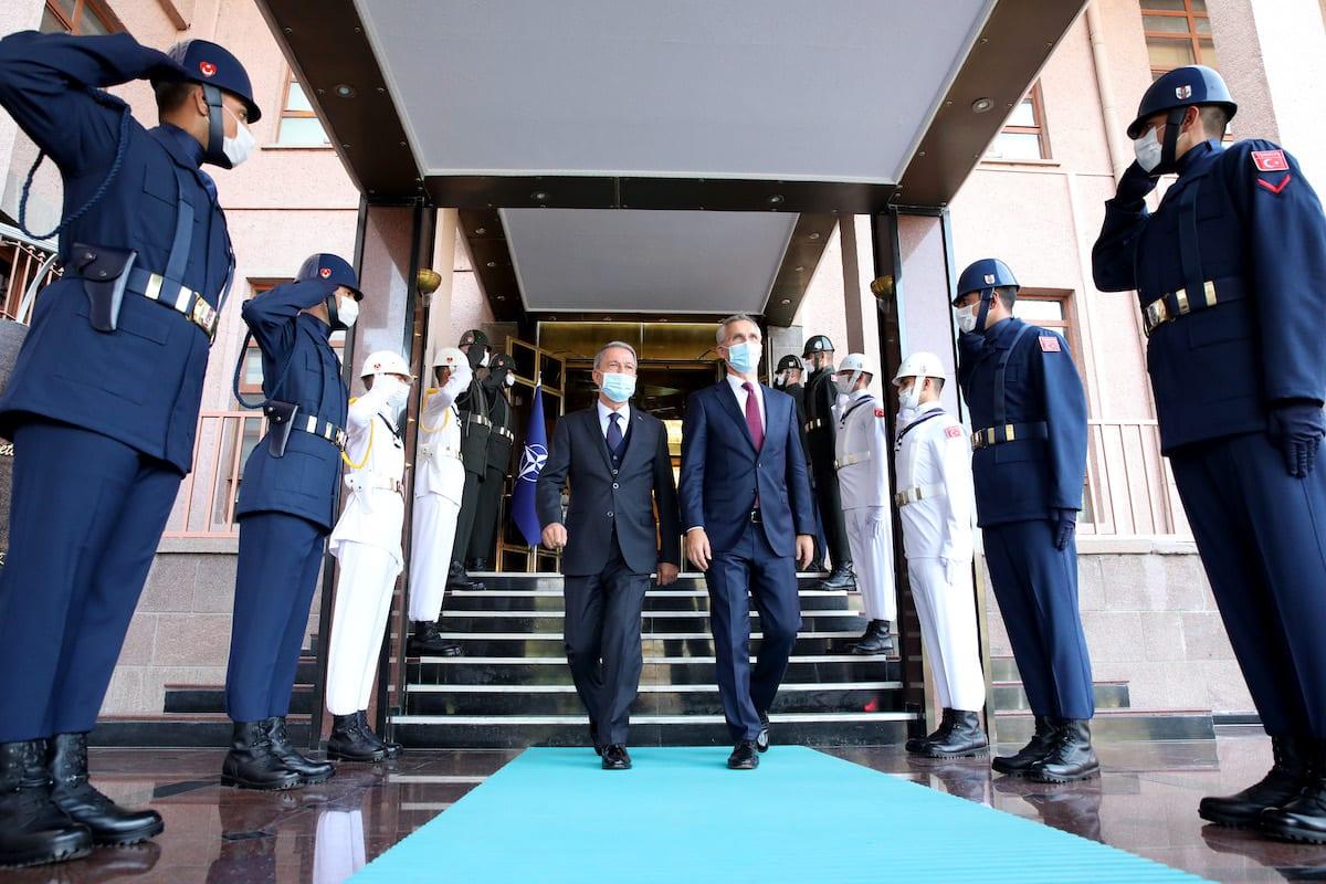 Turkish Defence Minister Hulusi Akar and NATO Secretary General Jens Stoltenberg meet in Ankara, Turkey on 5 October 2020. [Arif Akdoğan - Anadolu Agency]