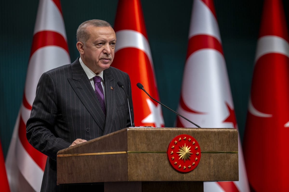 Turkish President Recep Tayyip Erdogan in Ankara, Turkey on 6 October 2020 [Ali Balıkçı/Anadolu Agency]