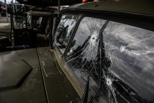 Bullet holes are seen on the window of an Armenian military vehicle, abandoned within the border clashes between Azerbaijan and Armenia on October 07, 2020 in Yevlakh, Azerbaijan [Onur Çoban - Anadolu Agency]