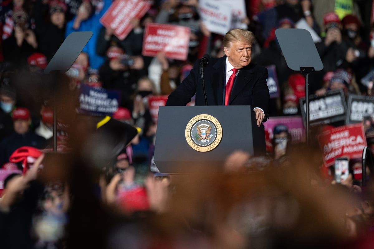 US President Donald Trump hosts a campaign rally in Lititz, Pennsylvania on 26 October 2020 [Tayfun Coşkun/Anadolu Agency]