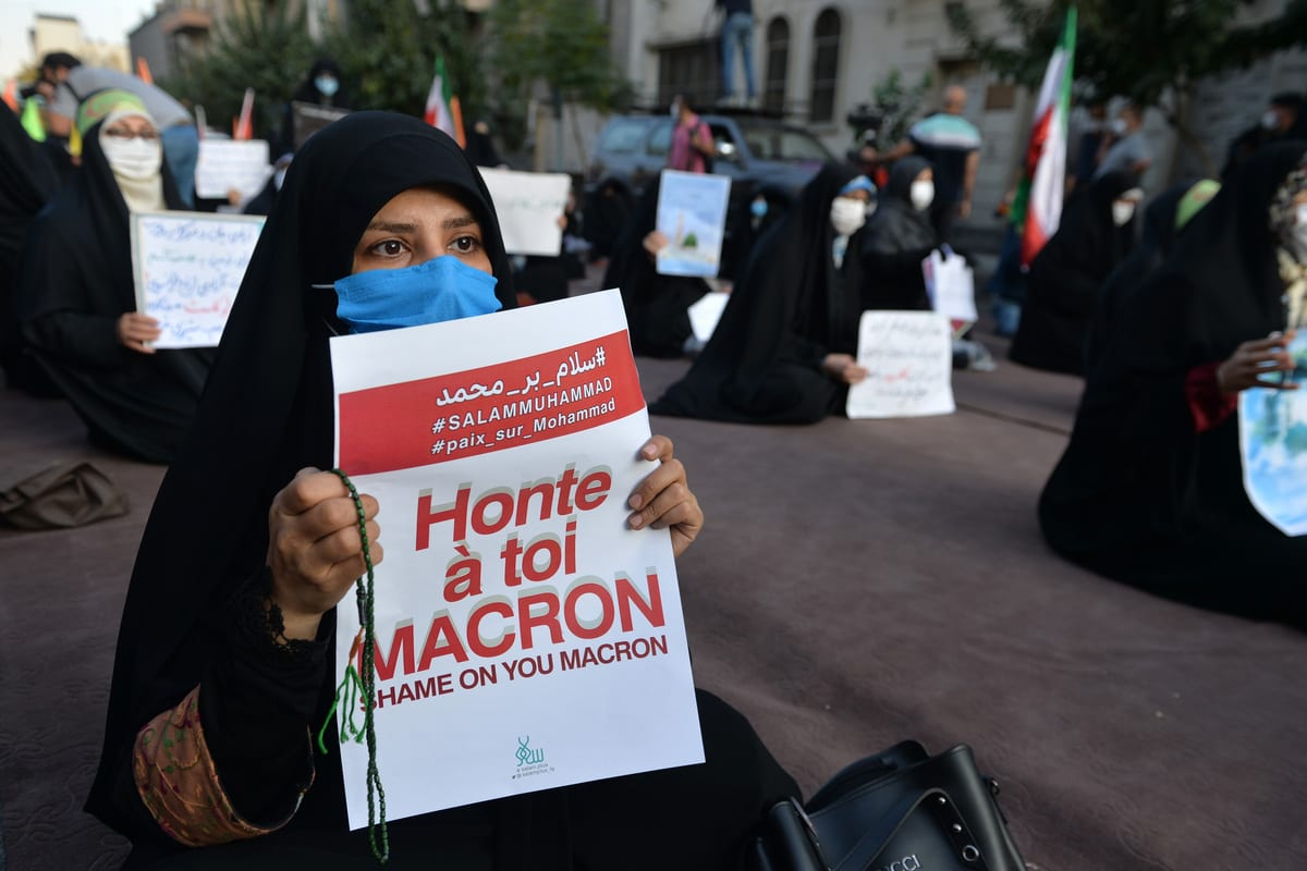Demonstrators gather in front of Embassy of France in Tehran during a protest against the publication of cartoons of Prophet Muhammad in France and against President of France Emmanuel Macron over his anti-Islam remarks, on October 28, 2020 in Tehran, Iran [Fatemeh Bahrami/Anadolu Agency]