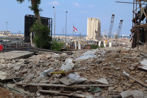 A view of the Beirut port in the aftermath of the explosion which rocked the Lebanese capital on 4 August 2020, taken on 23 September 2020