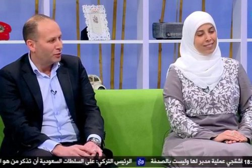 Screenshot of Nizar Tamimi and his wife Ahlam on Jordanian TV [@FrimetRoth/Twitter]