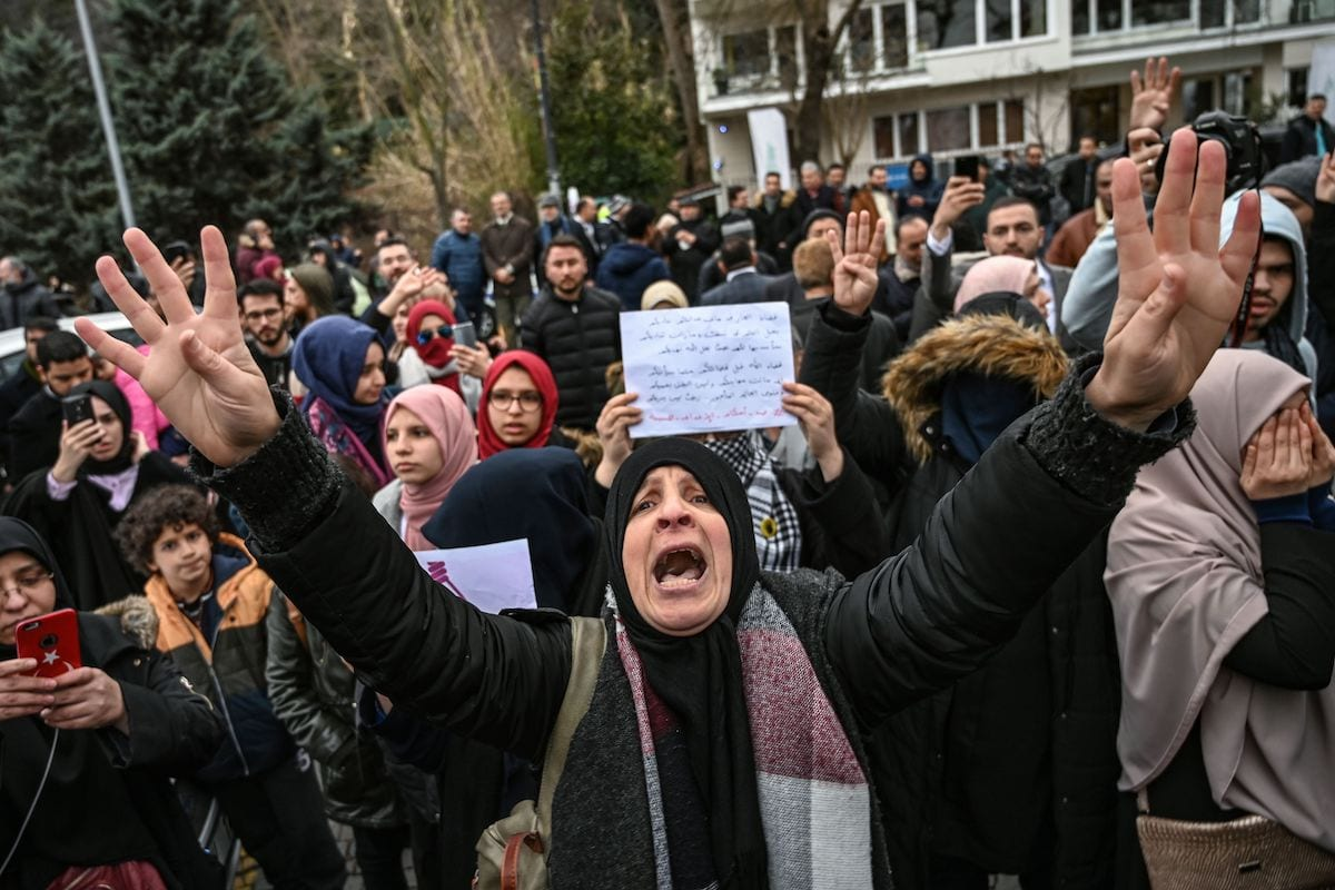People take part in a demonstration against death penalties in Egypt in front of the Egyptian consulate in Istanbul on 2 march 2019 following the recent execution of nine men. [OZAN KOSE/AFP via Getty Images]