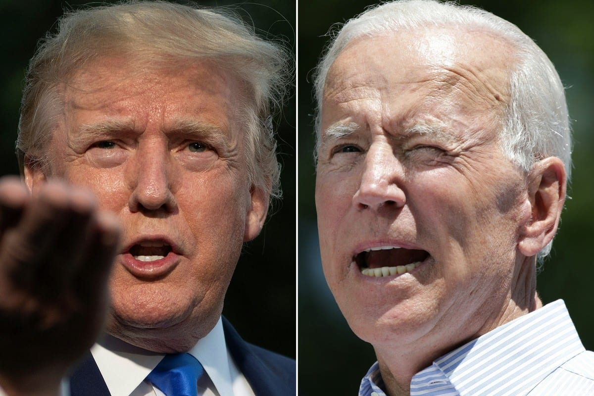 """(COMBO) This combination of pictures created on June 11, 2019 shows US President Donald Trump(L) as he departs the White House, in Washington, DC, on June 2, 2019, and former US vice president Joe Biden during the kick off his presidential election campaign in Philadelphia, Pennsylvania, on May 18, 2019. - Donald Trump and his leading Democratic challenger Joe Biden were to deliver dueling speeches on June 11, 2019 across the important 2020 battleground state of Iowa in a foretaste of what promises to be a bad tempered and volatile presidential election. Biden, 76, called his presence in the midwestern state on the same day as Trump, 72, a coincidence. But his speech will aim at the core of the Republican president's narrative, branding Trump """"an existential threat to America."""" (Photos by Jim WATSON and Dominick Reuter / AFP) (Photo credit should read JIM WATSON,DOMINICK REUTER/AFP via Getty Images)"""