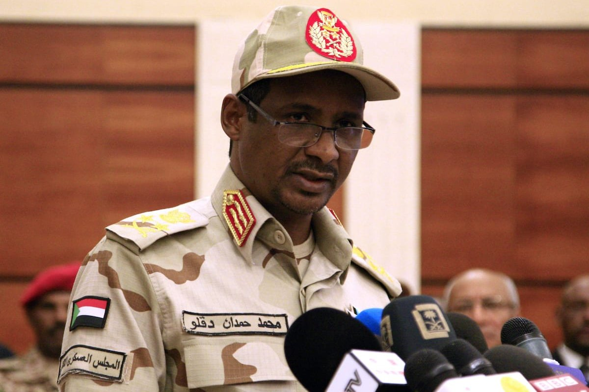 Sudanese deputy chief of the ruling miliary council Mohamed Hamdan Dagalo delivers a speech after inking an agreement with protest leaders in Khartoum early on 17 July 2019. [EBRAHIM HAMID/AFP via Getty Images]