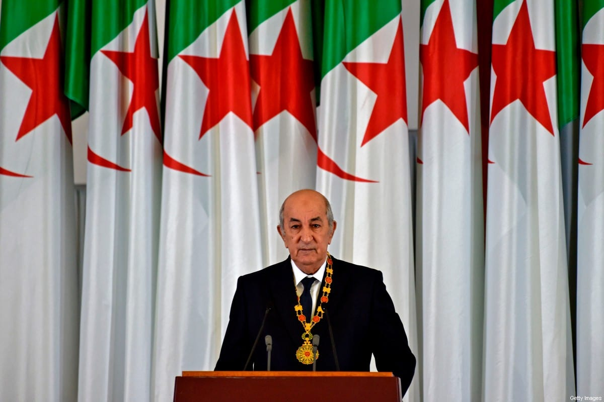 Algerian President Abdelmadjid Tebboune gives an address during the formal swearing-in ceremony in the capital Algiers on December 19, 2019 [RYAD KRAMDI/AFP via Getty Images]