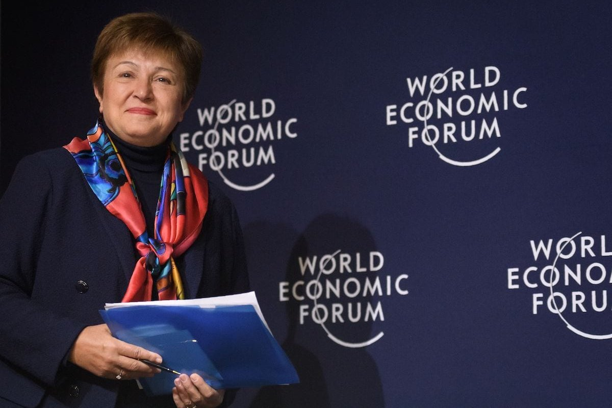 International Monetary Fund (IMF) Managing Director Kristalina Georgieva attends a World economic outlook during the annual meeting of the World Economic Forum (WEF) in Davos, on 20 January 2020. [FABRICE COFFRINI/AFP via Getty Images]
