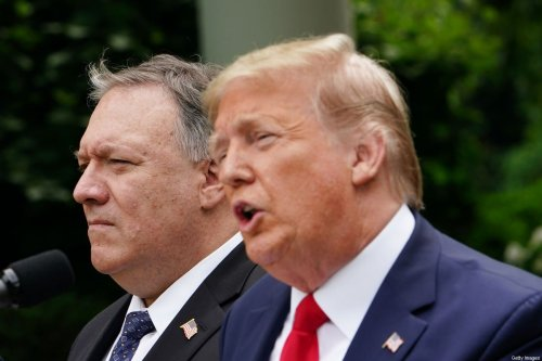 Outgoing US President Donald Trump, with US Secretary of State Mike Pompeo in in Washington, DC on 29 May 2020 [MANDEL NGAN/AFP/Getty Images]