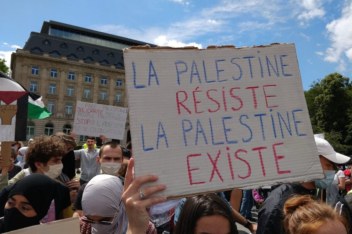 Illustration picture shows a 'static' protest against the annexation of Palestinian territory by Israel, at the Place Trone - Troonplein, in the center of Brussels, on 24 June 2020 [ANTONY GEVAERT/BELGA MAG/AFP via Getty Images]