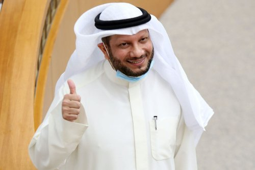 Kuwaiti Finance Minister Barrak al-Shaitan gives the thumbs up during a parliament session at Kuwait's national assembly in Kuwait City on 12 August 2020. [YASSER AL-ZAYYAT/AFP via Getty Images]