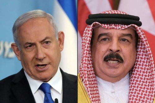 (COMBO) This combination of pictures created on September 12, 2020, shows (L) Israeli Prime Minister Benjamin Netanyahu in Jerusalem on August 13, 2020, and (R) Bahrain's King Hamad bin Isa Al Khalifa in the Saudi capital Riyadh on May 21, 2017. - Bahrain's contacts with Israel, thought to have started discreetly in the 1990s, accelerated in recent years towards the historic agreement to establish diplomatic relations announced on September 11. 2020. [ABIR SULTAN,MANDEL NGAN/AFP via Getty Images]