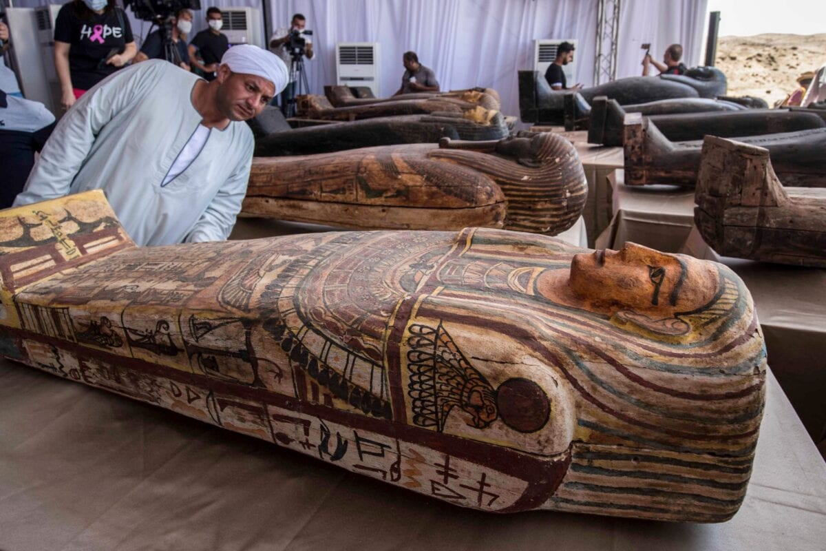 One of the 59 sarcophaguses excavated by the Egyptian archaeological mission, displayed during a press conference at the Saqqara necropolis, Egypt on October 3, 2020 [KHALED DESOUKI/AFP via Getty Images]