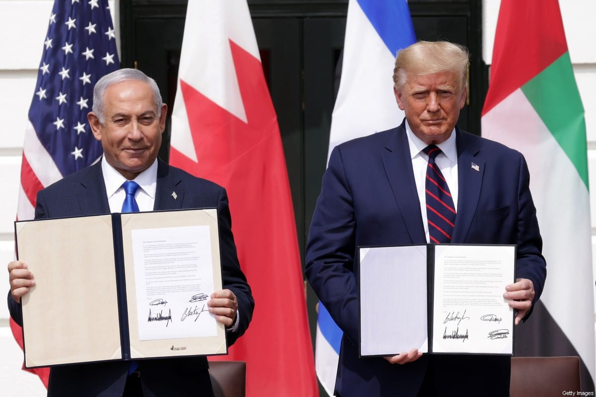 WASHINGTON, DC - SEPTEMBER 15: Prime Minister of Israel Benjamin Netanyahu and U.S. President Donald Trump participate in the signing ceremony of the Abraham Accords on the South Lawn of the White House on September 15, 2020 in Washington, DC. Witnessed by President Trump, Prime Minister Netanyahu signed a peace deal with the UAE and a declaration of intent to make peace with Bahrain. (Photo by Alex Wong/Getty Images)