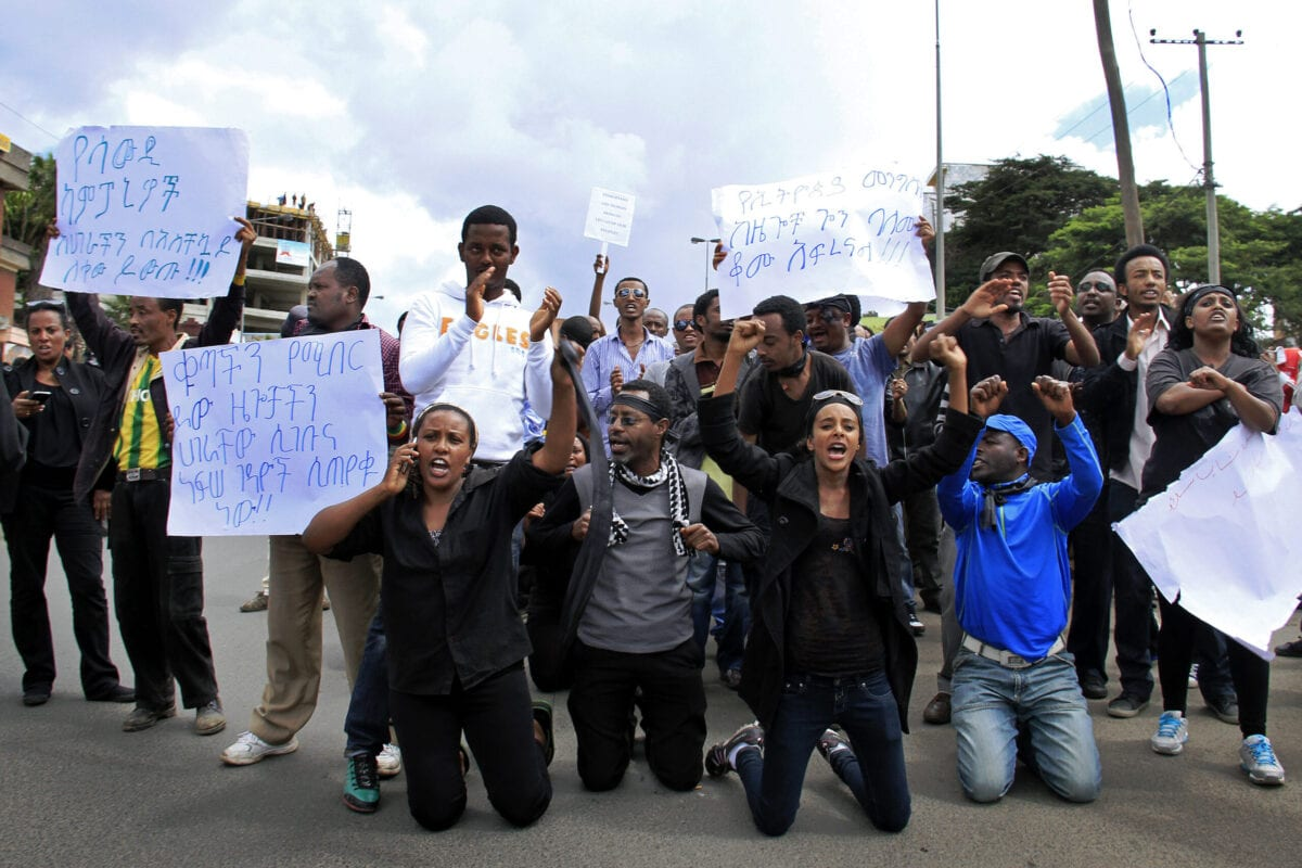 Ethiopians stage a demonstration at the Saudi Embassy in Addis Ababa on November 15, 2013, against a crackdown against illegal immigrants in Saudi Arabia that officials say has left three Ethiopians dead [STRINGER/AFP via Getty Images]