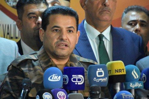 Iraqi Interior Minister Qassem al-Araji (C) speaks during a press conference in the multi-ethnic northern Iraqi city of Kirkuk on October 22, 2017 [MARWAN IBRAHIM/AFP via Getty Images]