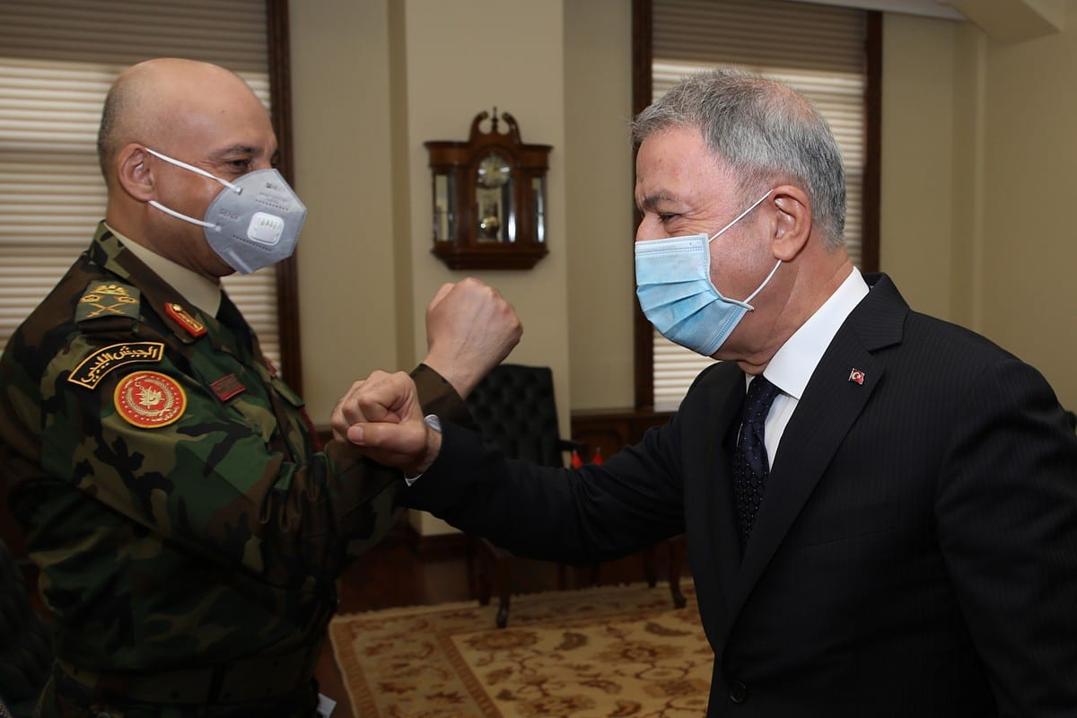 Turkish National Defense Minister Hulusi Akar receives Chief of Staff of the Armed Forces of Libya, Mohamed Ali al-Haddad in Ankara, Turkey on October 19, 2020 [Arif Akdoğan - Anadolu Agency]