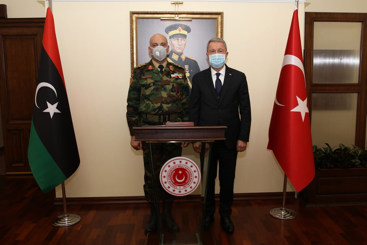 Turkish National Defense Minister Hulusi Akar receives Chief of Staff of the Armed Forces of Libya, Mohamed Ali al-Haddad in Ankara, Turkey on 19 October 2020. [Arif Akdoğan - Anadolu Agency]