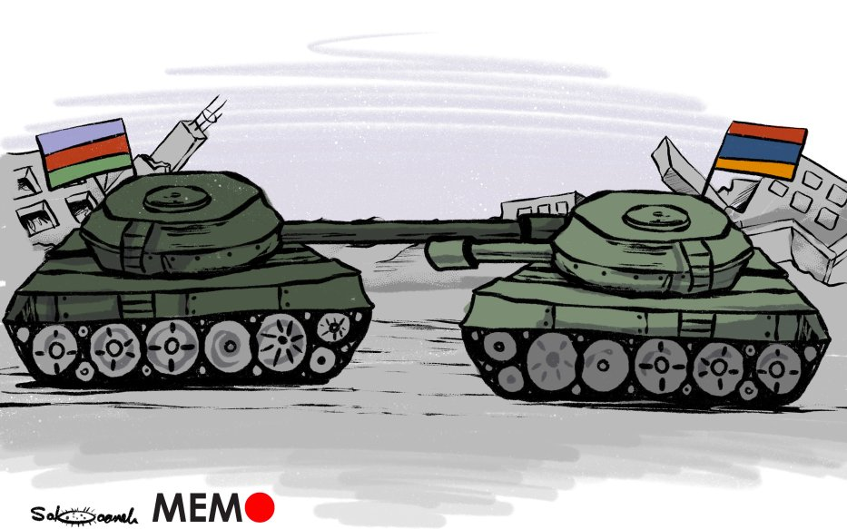 Armenia/Azerbaijan fighting rages - Cartoon [Sabaaneh/MiddleEastMonitor]