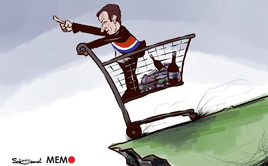 Calls for boycott of French products - Cartoon [Sabaaneh/MiddleEastMonitor]
