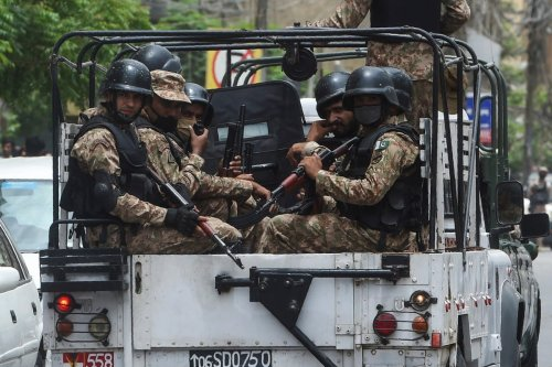 Pakistani soldiers in Karachi, Pakistan on 29 June 2020 [ASIF HASSAN/AFP/Getty Images]