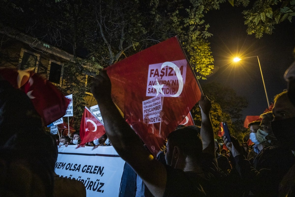 Protest against the publication of cartoons of Prophet Muhammad in France and against President of France Emmanuel Macron over his anti-Islam remarks in Ankara, Turkey on 28 October 2020 [Esra Hacioğlu/Anadolu Agency]