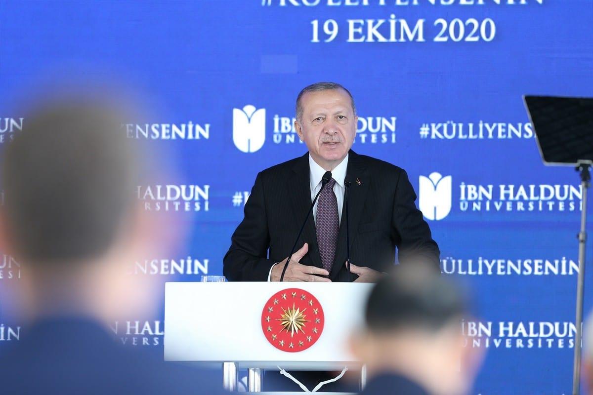 Turkish President Recep Tayyip Erdogan in Istanbul, Turkey on 19 October 2020 [İsa Terli/Anadolu Agency]