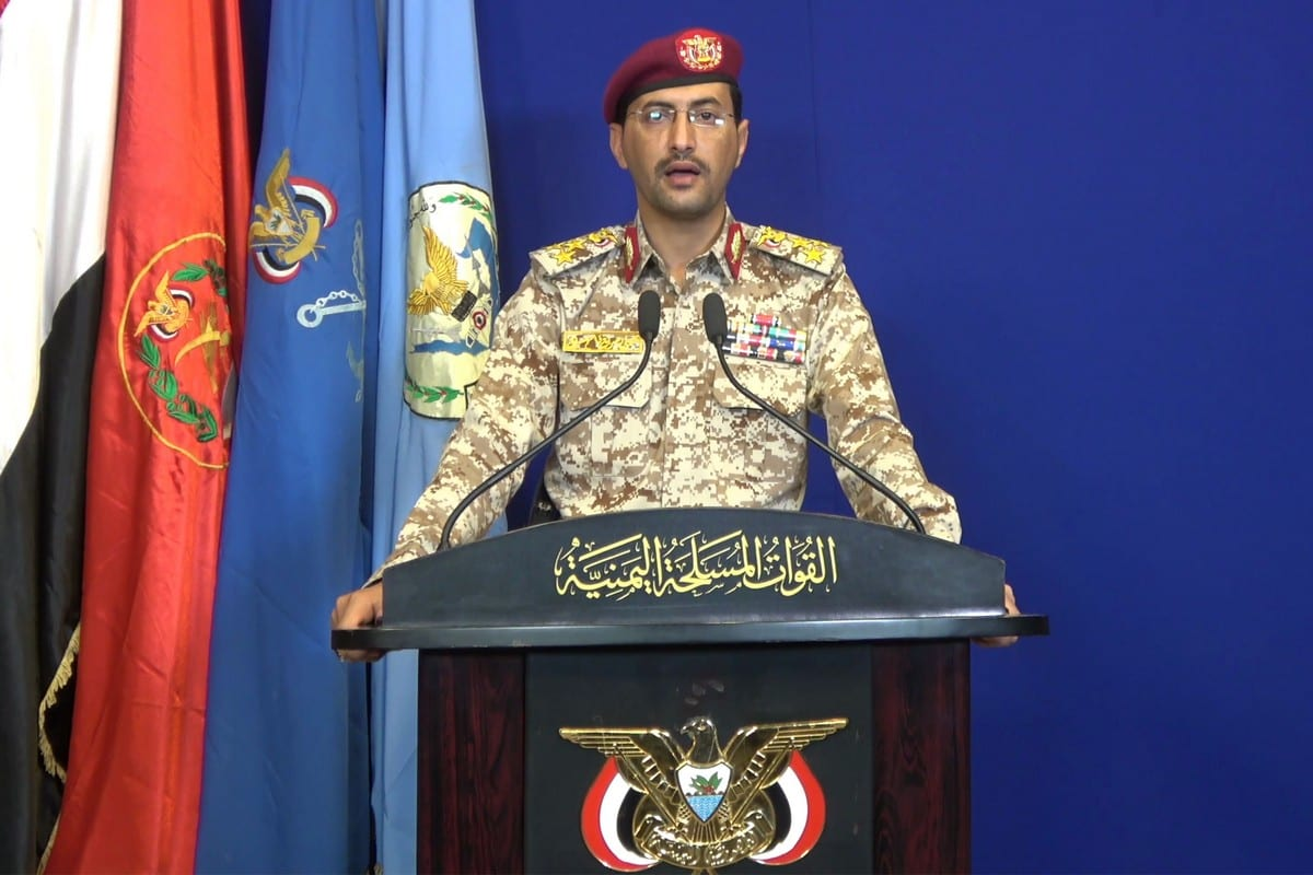 Spokesperson for the Houthi-supported Yemeni army, Brigadier Yahya Saree on 14 September 2019 [AFP/Getty Images]