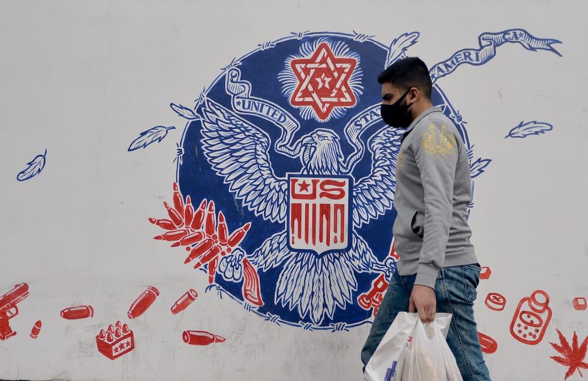 The graffiti on the walls of the former Tehran Embassy building in the capital city of Tehran is seen on 9 November 2020 in Tehran, Iran. [Fatemeh Bahrami - Anadolu Agency]