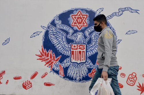 The graffiti on the walls of the former Tehran Embassy building in the capital city of Tehran is seen on 9 November 2020 in Tehran, Iran. [Fatemeh Bahrami - Anadolu Agency]