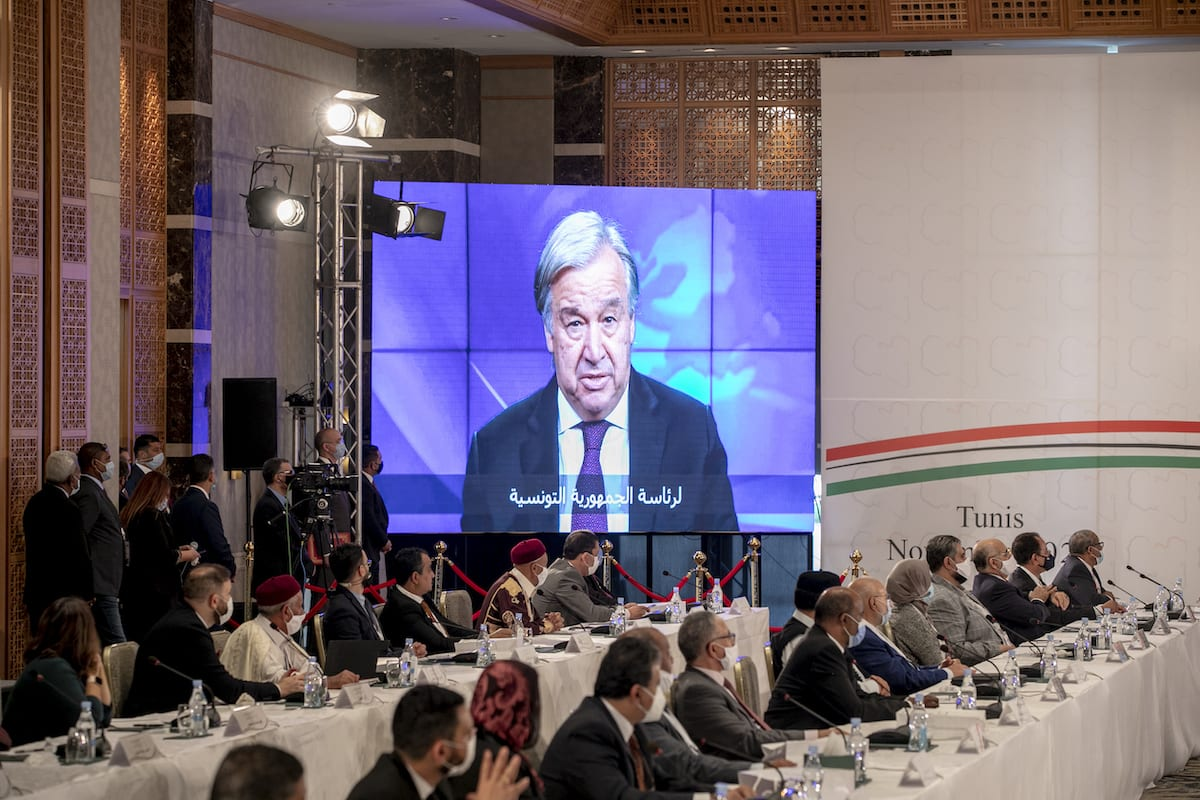 Libyan parties attend the opening session of Libyan Political Dialogue Forum in Tunis, Tunisia on November 9, 2020. [Yassine Gaidi - Anadolu Agency]