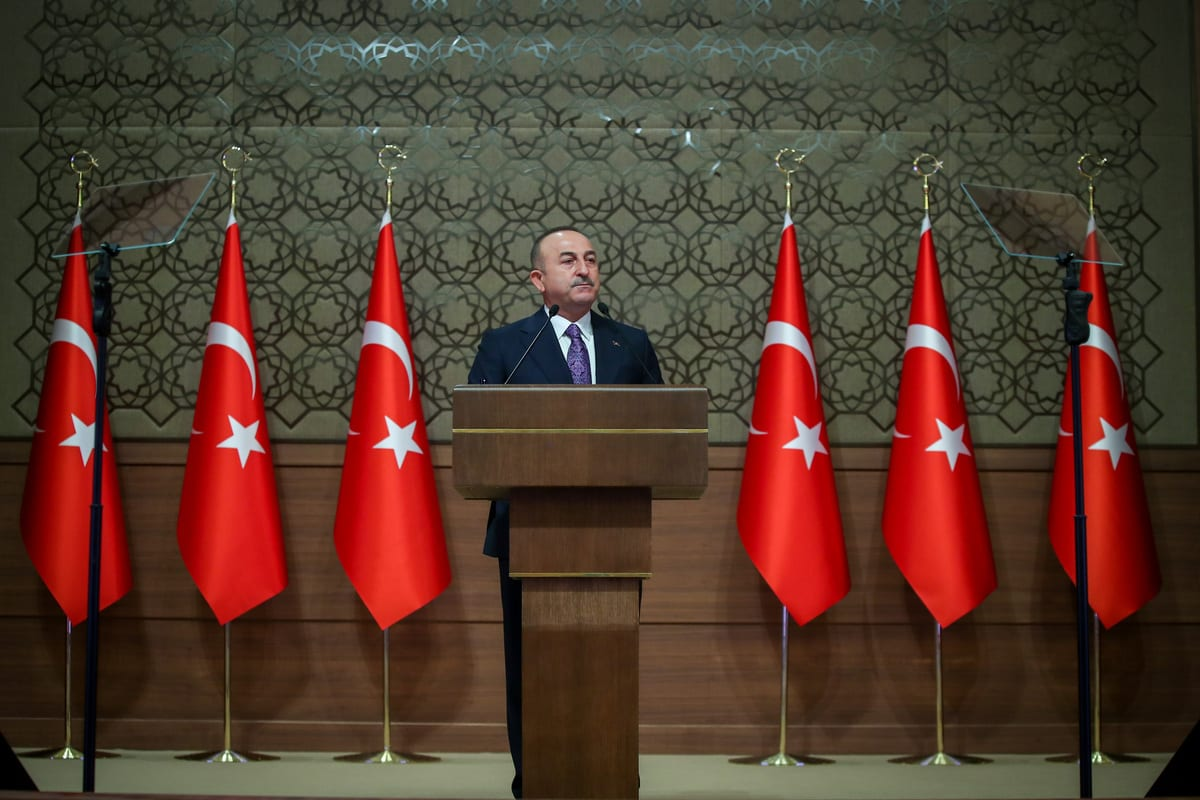 Turkey's Foreign Minister Mevlut Cavusoglu addresses during the 12th Ambassadors Conference at the Presidential Complex in Ankara, Turkey on November 10, 2020 [Cem Özdel / Anadolu Agency]