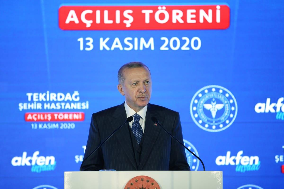 President of Turkey Recep Tayyip Erdogan speaks during the inauguration ceremony of Tekirdag City Hospital, in Tekirdag, Turkey on November 13, 2020 [Mustafa Kamacı/Anadolu Agency]