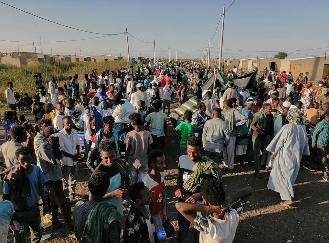 Ethiopians, who fled the conflict in the Tigray region in Ethiopia can be seen in Sudan on 14 November 2020 [Stringer/Anadolu Agency]