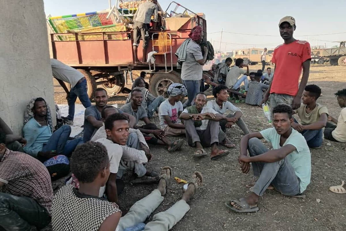 Ethiopians, who fled the conflict in the Tigray region in northern Ethiopia due to the clashes in the operation launched by the Federal Government Forces against the Tigray People's Liberation Front (TPLF), reach Al Qadarif State, Sudan on 14 November 2020 [Stringer - Anadolu Agency]
