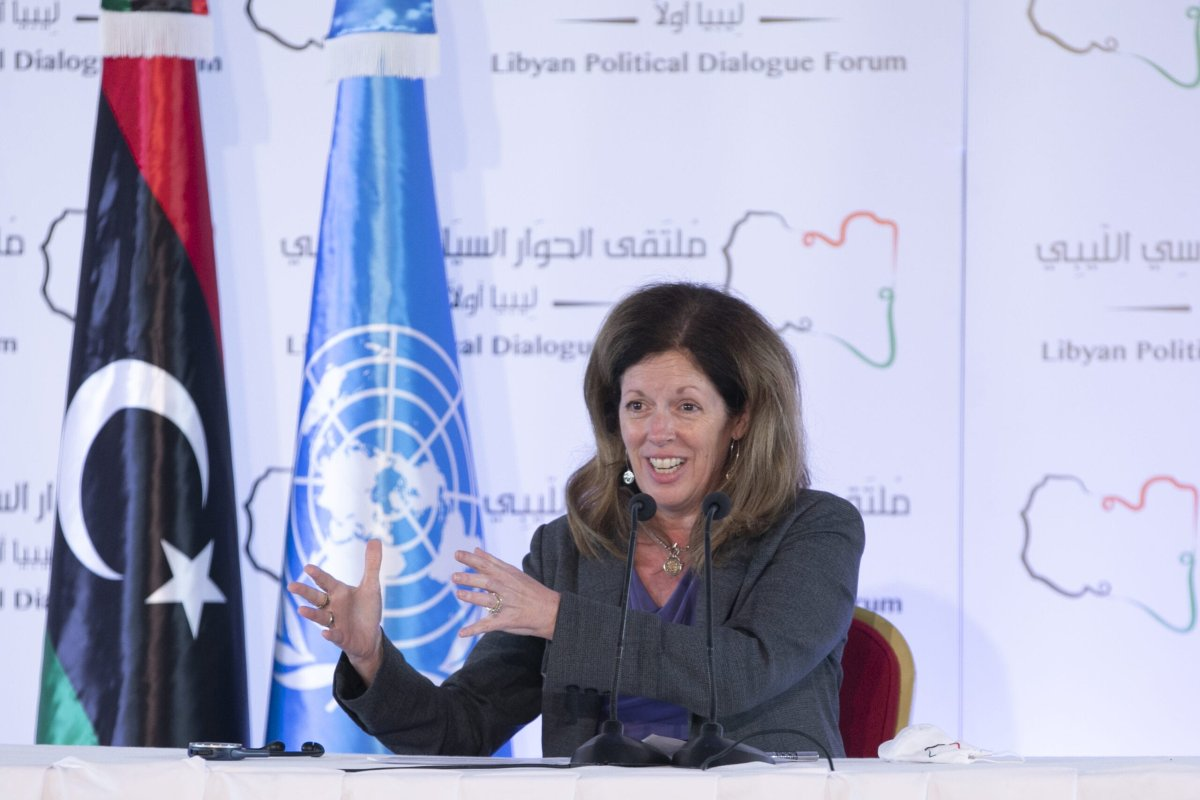 Stephanie Williams, head of the UN Support Mission in Libya (UNSMIL) speaks during a press conference on the 7th and closing day of Libyan Political Dialogue Forum, on November 16, 2020 in Tunis, Tunisia [Yassine Gaidi - Anadolu Agency]