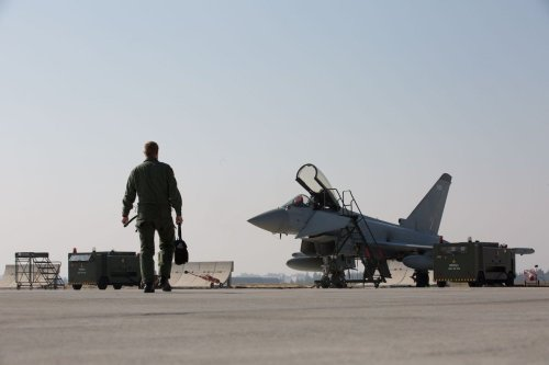 The joint training flight is carried out as part of NATO trainings, with the participation of the Turkish F-16 aircrafts of the 132nd Weapons and Tactics Squadron Command and UK's Royal Air Force (RAF) Eurofighter Typhoon jet, deployed to 3rd Main Jet Base Command in Konya, on 18 November 2020 in Konya, Turkey. [TUR National Defense Ministry - Anadolu Agency]