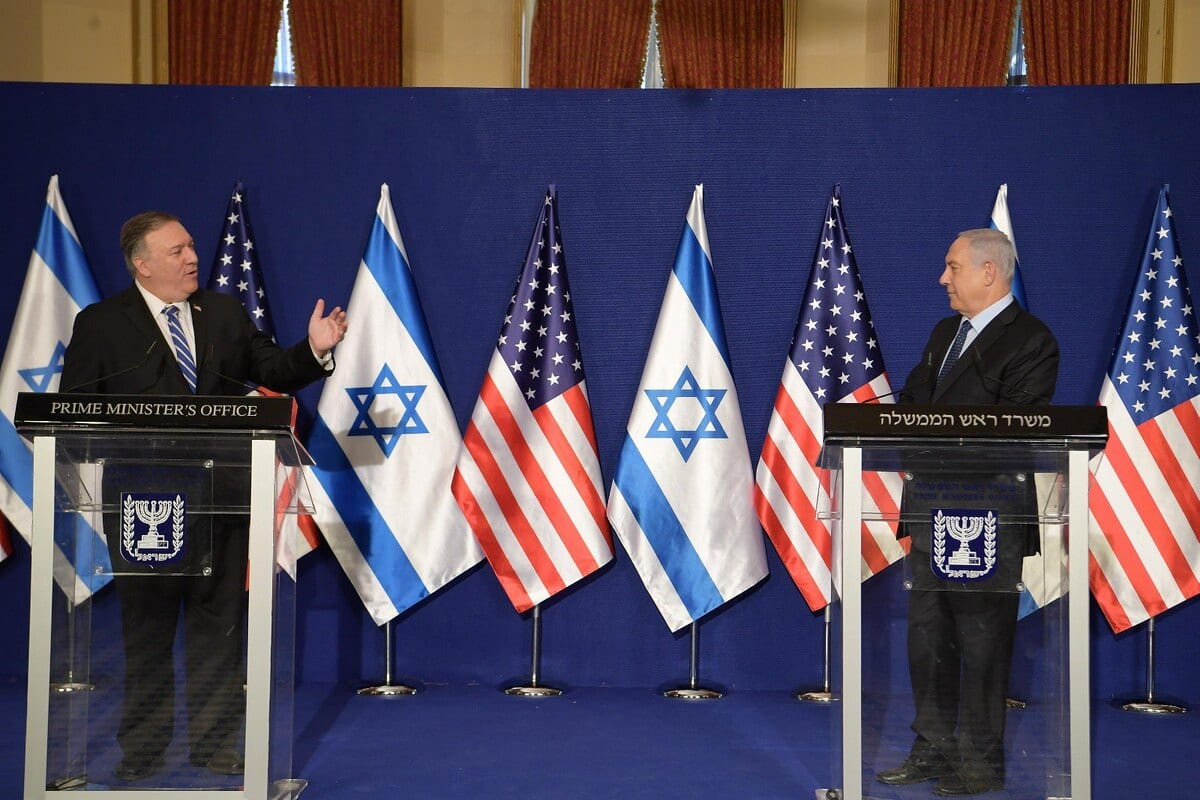 """JERUSALEM - NOVEMBER 19: (----EDITORIAL USE ONLY MANDATORY CREDIT - """"ISRAELI PRIME MINISTRY / HANDOUT"""" - NO MARKETING NO ADVERTISING CAMPAIGNS - DISTRIBUTED AS A SERVICE TO CLIENTS----) US Secretary of State Mike Pompeo (L) and Israeli Prime Minister Benjamin Netanyahu (R) hold a joint press conference at the Prime Ministry Office in West Jerusalem on November 19, 2020. ( IL Prime Ministry - Anadolu Agency )"""