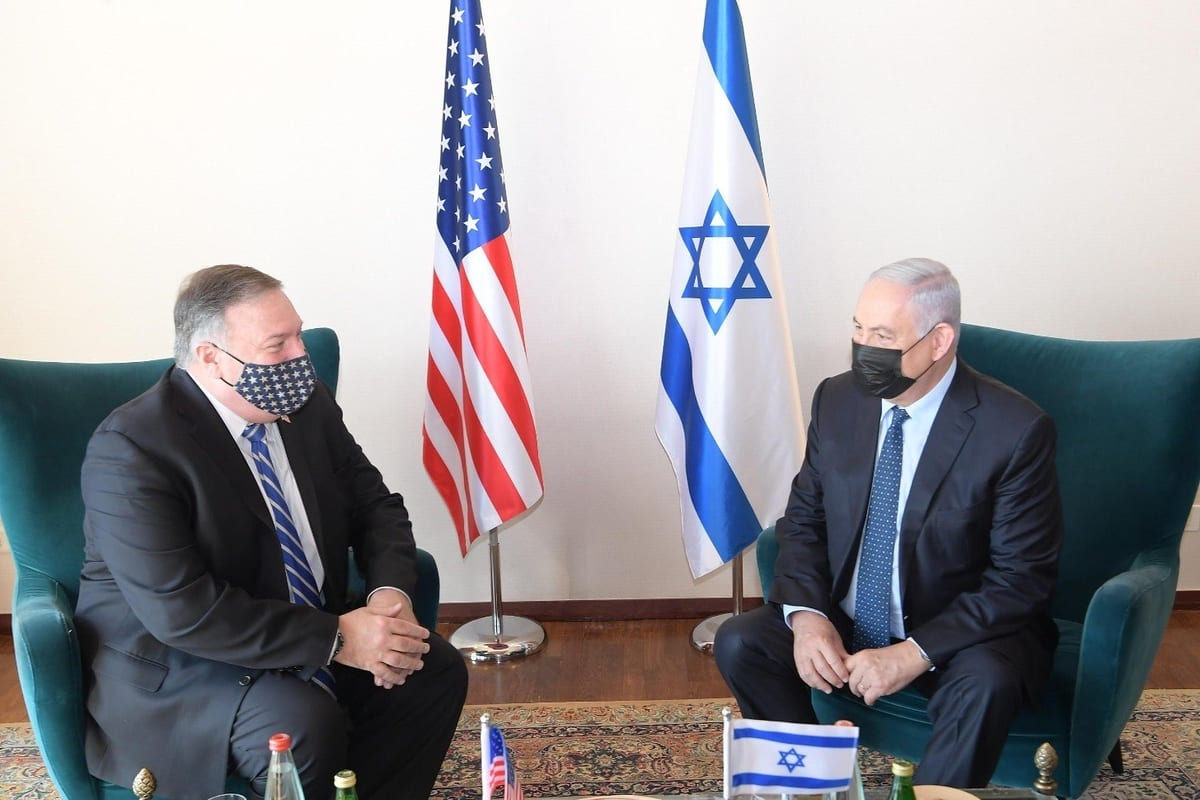 """JERUSALEM - NOVEMBER 19: (----EDITORIAL USE ONLY MANDATORY CREDIT - """"ISRAELI PRIME MINISTRY / HANDOUT"""" - NO MARKETING NO ADVERTISING CAMPAIGNS - DISTRIBUTED AS A SERVICE TO CLIENTS----) US Secretary of State Mike Pompeo (L) and Israeli Prime Minister Benjamin Netanyahu (R) meet at the Prime Ministry Office in West Jerusalem on November 19, 2020. ( IL Prime Ministry - Anadolu Agency )"""