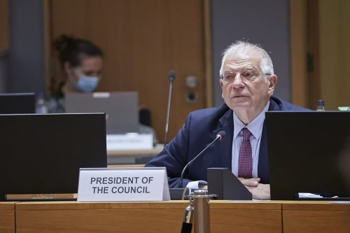 EU High Representative of the European Union for Foreign Affairs and Security Policy Josep Borrell leads EU Foreign Ministers' video conference meeting in Brussels, Belgium on November 19, 2020 [EU Council/Pool/Anadolu Agency]