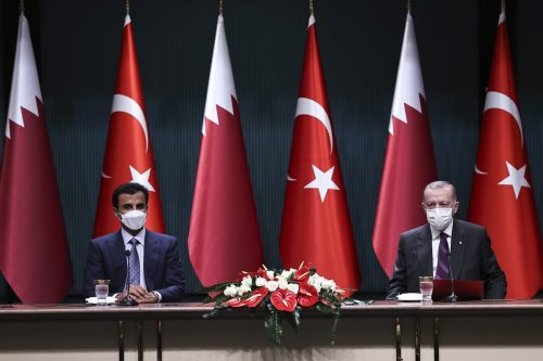 President of Turkey, Recep Tayyip Erdogan (R) and Qatari Emir Sheikh Tamim bin Hamad al-Thani (L) attend a signing ceremony at Presidential Complex in Ankara, Turkey on 26 November 2020. [Emin Sansar - Anadolu Agency]