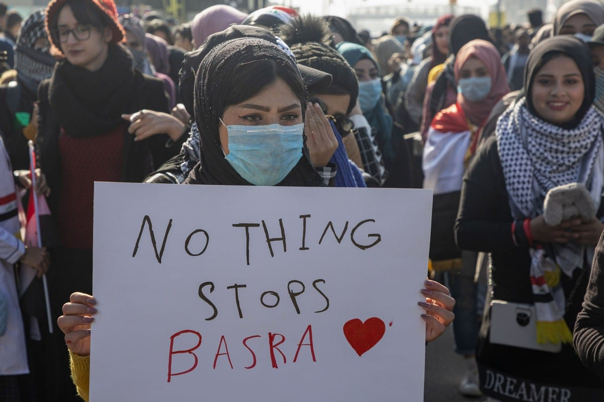 Iraqis march over a lack of jobs in Basra, Iraq on 28 January 2020 [HUSSEIN FALEH/AFP/Getty Images]