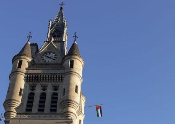 The city council in Aberdeen has flown the Palestinian flag on the Town House to commemorate the UN's International Day of Solidarity with the Palestinian People [@palstinalibre/Twitter]