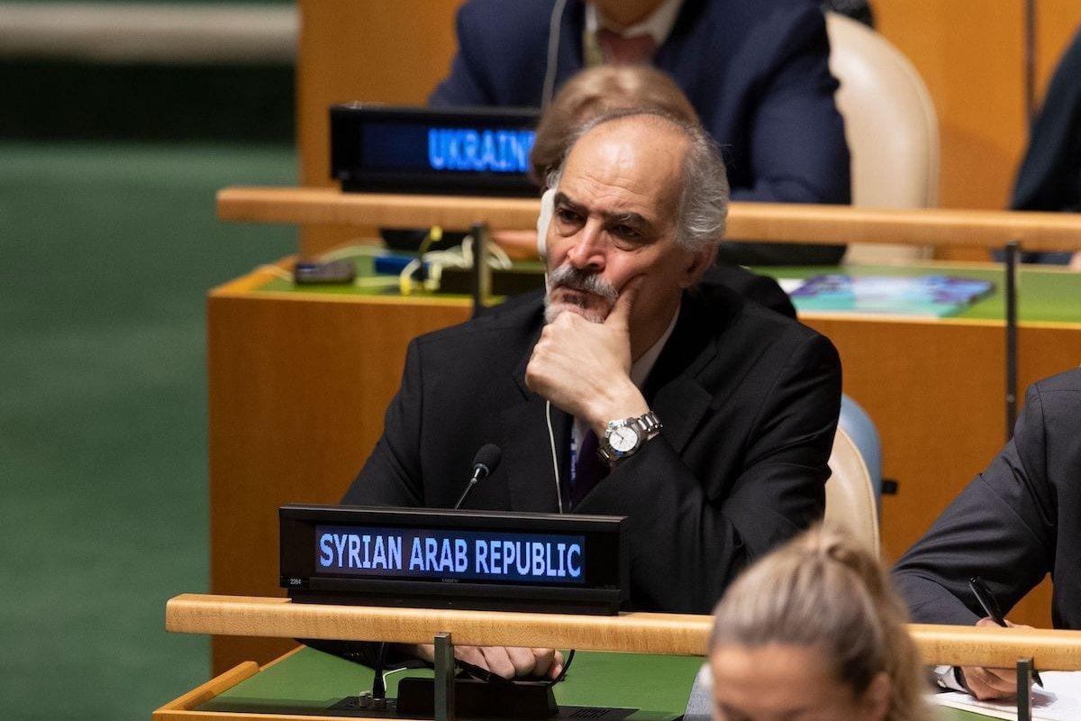 Syria's Ambassador to the UN Bashar Jaafari on September 25, 2019, in New York [DON EMMERT/AFP via Getty Images]