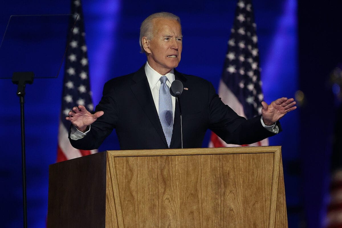 President-elect Joe Biden addresses the nation from the Chase Center on 7 November 2020 in Wilmington, Delaware. [Tasos Katopodis/Getty Images]