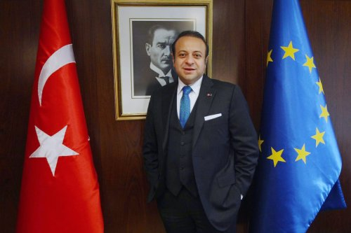 Turkey's Ambassador to the Czech Republic and former EU Affairs Minister Egemen Bagis poses during an AFP interview in Ankara on 18 February 2013. [ADEM ALTAN/AFP via Getty Images]